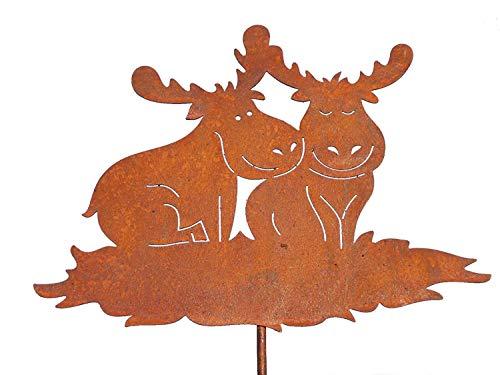 Rostikal | lustiges Elchpaar auf 60 cm Stab | Weihnachtsdeko in Edelrost | 24 x 31 cm