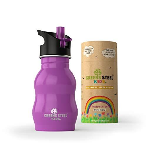 Greens Steel Botella de Agua de niño - 350ml Botella a Prueba de Fugas Tapa con Pitillo - Bebe niños cantimplora de Acero para niños (púrpura)