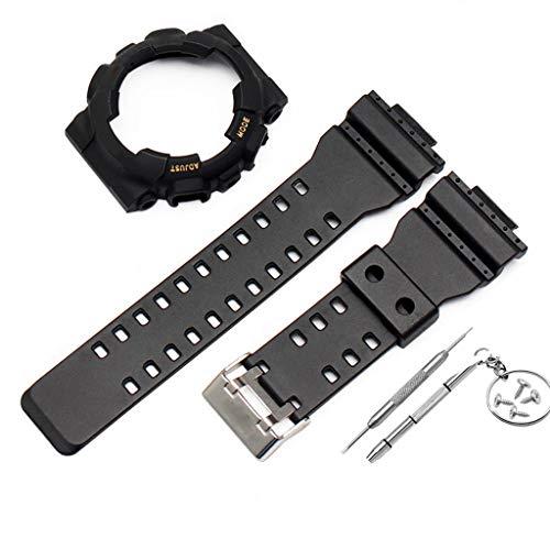 Uhrenarmbänder Ersatz für G Shock GA-110 GA100 GD-120 Silikonband Uhr Ersatband Sportarmband Armband mit Edelstahlschnalle mit Werkzeug mit Schutzhülle (Schwarz)
