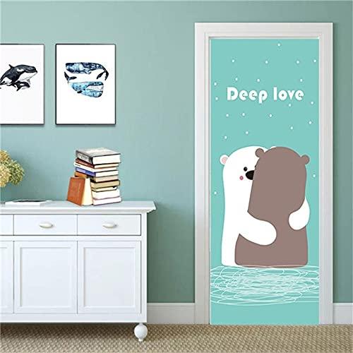 Self Adhesive Bedroom Door Sticker Scenery Renovation Cartoon Flamingo Mural Waterproof Print Picture Home Decor Poster A20 86x200cm