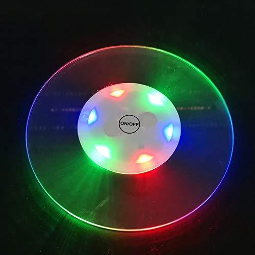 ddellk Dessous de verre LED en acrylique ultra fin et lumineux pour boissons, bouteilles, tasses et accessoires de bar, Acrylique, Round -Colorful, 10 * 10 * 0.3 cm