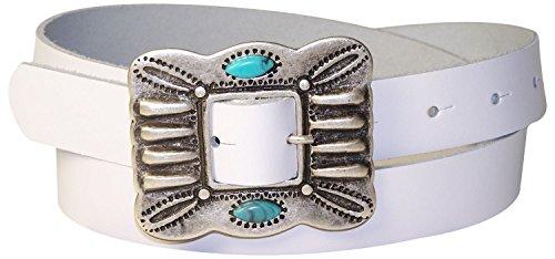 FRONHOFER Damengürtel 2,5 cm Ethno Gürtelschnalle Türkise, Mexiko Gürtel echt Leder, Indianergürtel 18176, Größe:Körperumfang 85 cm/Gesamtlänge 100 cm, Farbe:Weiß