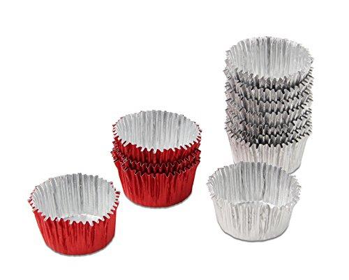 Dr. Oetker bonbonvormen Ø 3 cm, vormpje van aluminium voor heerlijke bonbons of truffels, eenvoudig vullen en losmaken, hoge flexibiliteit, (kleur: rood, zilver), hoeveelheid: 30 stuks