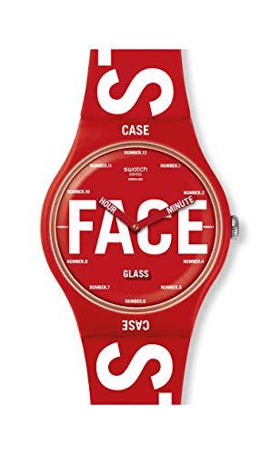 Swatch Unisex Erwachsene Analog Quarz Uhr mit Silikon Armband SUOR115