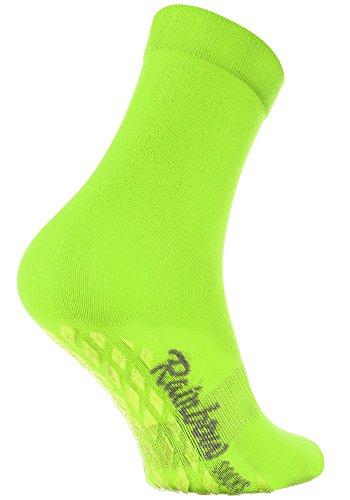 Rainbow Socks - Damen Herren Bunte Baumwolle Antirutsch Socken ABS - 1 Par - Grün - Größen 36-38