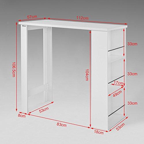 SoBuy® Bartisch, Beistelltisch, Stehtisch, Küchentheke, Küchenbartisch mit 3 Regalfächern, Tresen, weiß - 7