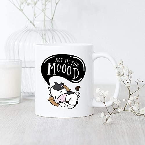 Younini Dairy Farmer Not in Moood Taza de la vaca Cow Farmer Cup Amante de la Vaca Taza de café Taza del alfabeto Inglés Taza de café Taza de cerámica resistente al calor Taza de té de cerámica