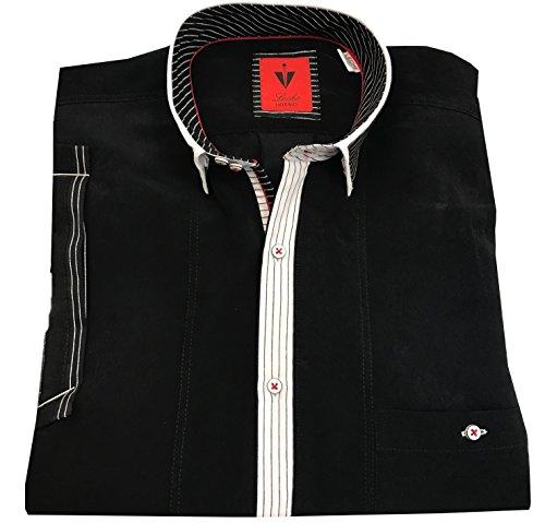 Leché Designerhemd Kurzarm in Schwarz mit Weißer Knopfleiste (M)