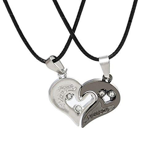 Gmgod Collar con cadena de acero inoxidable con corazón amor para parejas a la moda