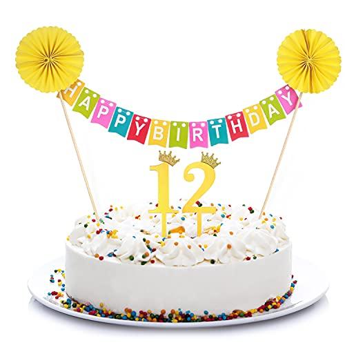 Crazy-M 12° compleanno, decorazione per torta di compleanno, set per 12° compleanno, decorazione per torta colorata, ghirlanda di bandierine 'Happy Birthday', 12 anni