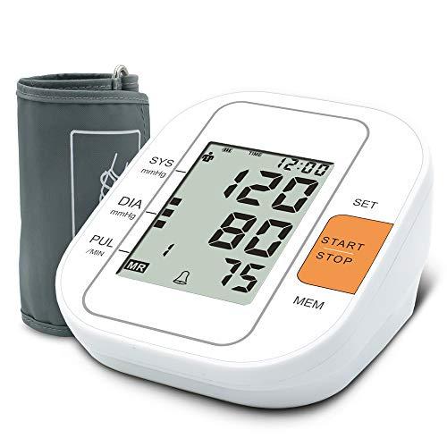 Oberarm Blutdruckmessgerät, USB Aufladbar Elektronisches Blutdruckmessgerät, Digital Vollautomatisch Blutdruckmessgerät und Pulsmessung, mit Arrhythmie-Erkennung (Weiß)