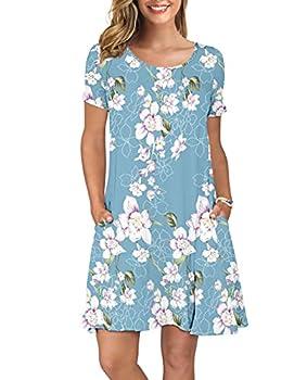 KORSIS Women s Summer Floral Dresses T Shirt Dress Flower Light Blue S