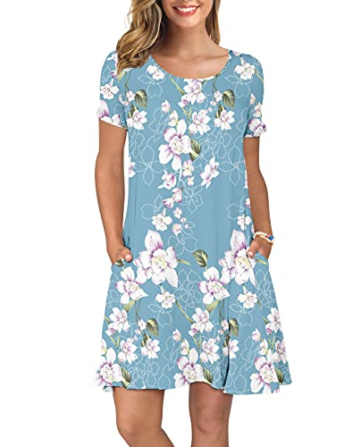 KORSIS Women s Summer Floral Dresses T Shirt Dress Flower Light Blue XL