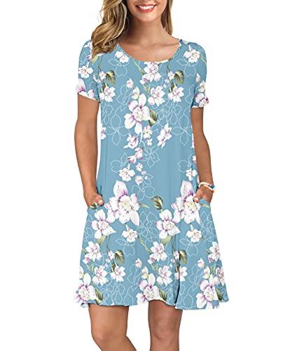 KORSIS Women's Summer Floral Dresses T Shirt Dress Flower Light Blue M