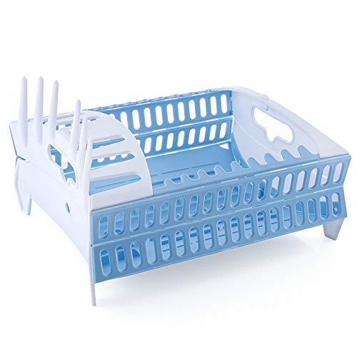 WFBD-CN Plegable Estante for Platos de Cocina de Almacenamiento de Soporte Completo Escurridor Tazón Vajilla Placa de Secado en Rack portátil Home Plataforma de vajilla Organizador (Color : Blue)