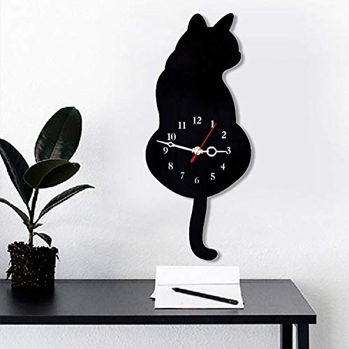 Topkey Wall Clock Creative DIY Cat Acrylic Wall Clock with Swing Tail Pendulum for Living Room Bedroom Kitchen Home Décor - Battery Not Included (42CM x 18CM) Black