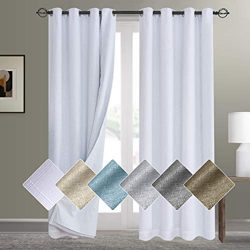 White Blackout Curtains 84 Inch Length Linen Textured Curtains with White Blackout Curtain Liner Thermal Insulated Grommet Curtains for Bedroom(W50 x L84 2 Panels, White)