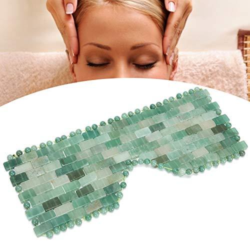 Mascarilla para ojos, masajeador facial de piedra de jade natural, herramienta de cuidado de masaje ocular para relajar los ojos, aliviar la fatiga y mejorar el sueño(Verde)