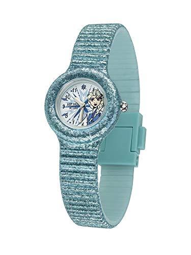 Hip Hop Orologio Solo Tempo Dedicato ad Elsa da Frozen Disney con Cinturino in Silicone Glitter e Resistente all'Acqua HWU0963