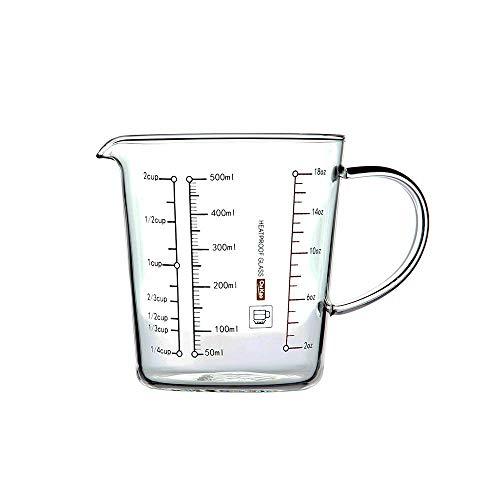 LOKKRG Messbecher, Kochgeschirr-Messbecher, hitzebeständiges Glas, 500 ml, Skalierung für Milliliter, Tassen und Unzen, Kitchen Appliance Backzubehör Utensilien Kochen