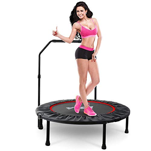 38' Foldable Mini Trampoline with Adjustable Handle, Indoor Exercise Trampoline Max. Load 300lbs,Fitness Rebounder Trampoline Cardio Trainer Workout for Kids Adults