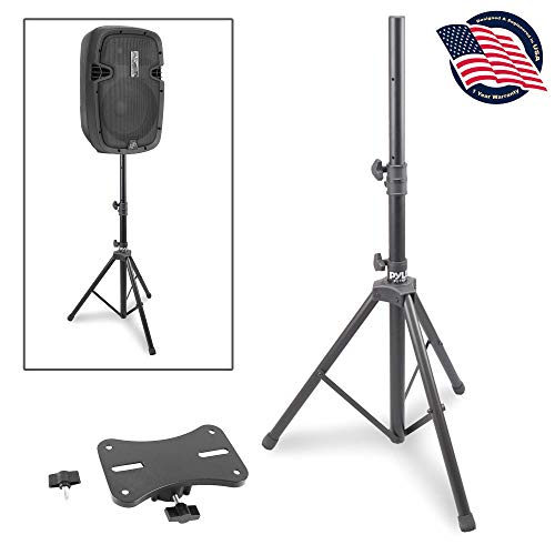 """Universal Speaker Stand Mount Holder - Heavy Duty Rubber Capped Tripod w/ Adjustable Height from 59.1"""" to 82.7"""" Locking Safety PIN & 35mm Compatible Insert On-Stage or In-Studio Use - Pyle PSTND1"""