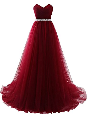 Burgundy Strapless Prom Dress Tulle Princess Evening Gowns with Rhinestone Beaded Belt Size 18W
