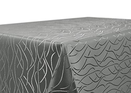 BEAUTEX Tischdecke Damast Streifen - Bügelfreies Tischtuch - Fleckabweisende, Pflegeleichte Tischwäsche - Tafeltuch, Rund 160 cm, Grau