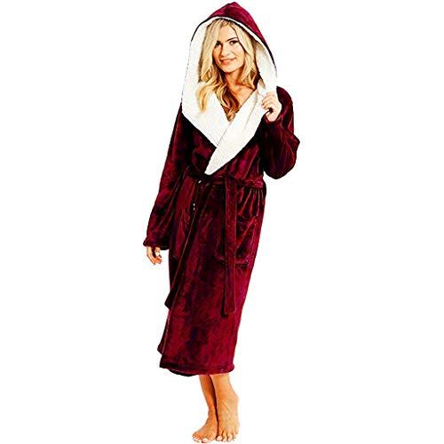 SDCAJA Bademantel mit Kapuze Paar Pyjama Flauschig Loungewear Plüsch Shaggy Coral Fleece Sexy Kuschelig Morgenmante Winter große größe Lang Robenmantel für Damen und Herren