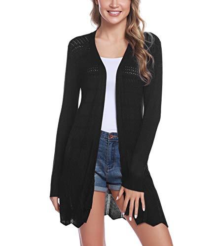 iClosam Damen Cardigan Lang Dünne Jacke mit Leichter Transparenz Langarm Strickjacke (#Schwarz, XL)