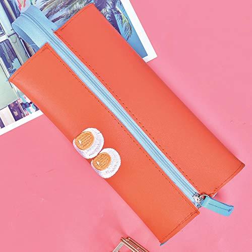 Caja de lápices de gran capacidad para hombres y mujeres, para estudiantes de papelería, bolsa de almacenamiento de ojos, caja de papelería, color naranja