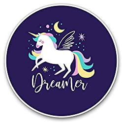 Awesome Vinyl Stickers (Set of 2) 10cm - Purple Galaxy Unicorn Dreamer Fun Decals for Laptops, Tablets, Luggage, Scrap Booking, Fridges, Cool Gift