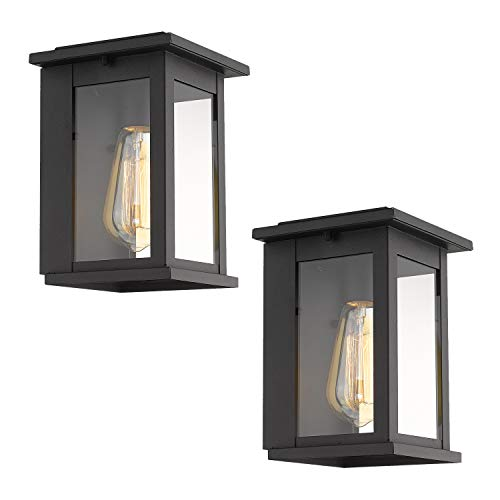 Emliviar 2 Pack Outdoor Wall Sconces, Wall Mounted Light Fixture with Clear Glass in Black Finish, 1810-AW1-2PK