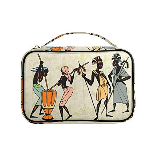 Hombre Ethic African People Collage Organizador de joyas bolsa de viaje PU cuero almacenamiento casos para collar, pendientes, anillos, pulsera