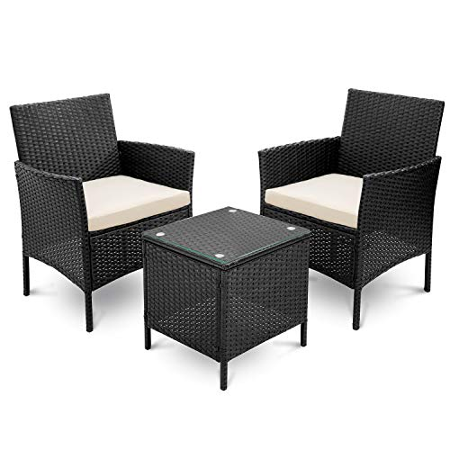 Nyyi Rattan Wicker Garden Furniture Set 3 Piece Patio Outdoor Rattan Patio Set Includes Cushion One Glass Table Black