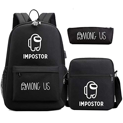 Among Us Student School Bag Sets with Password Lock and USB Charging Port Large Capacity Teenager Casual Backpack Durable Shoulder Bag Cute Pencil