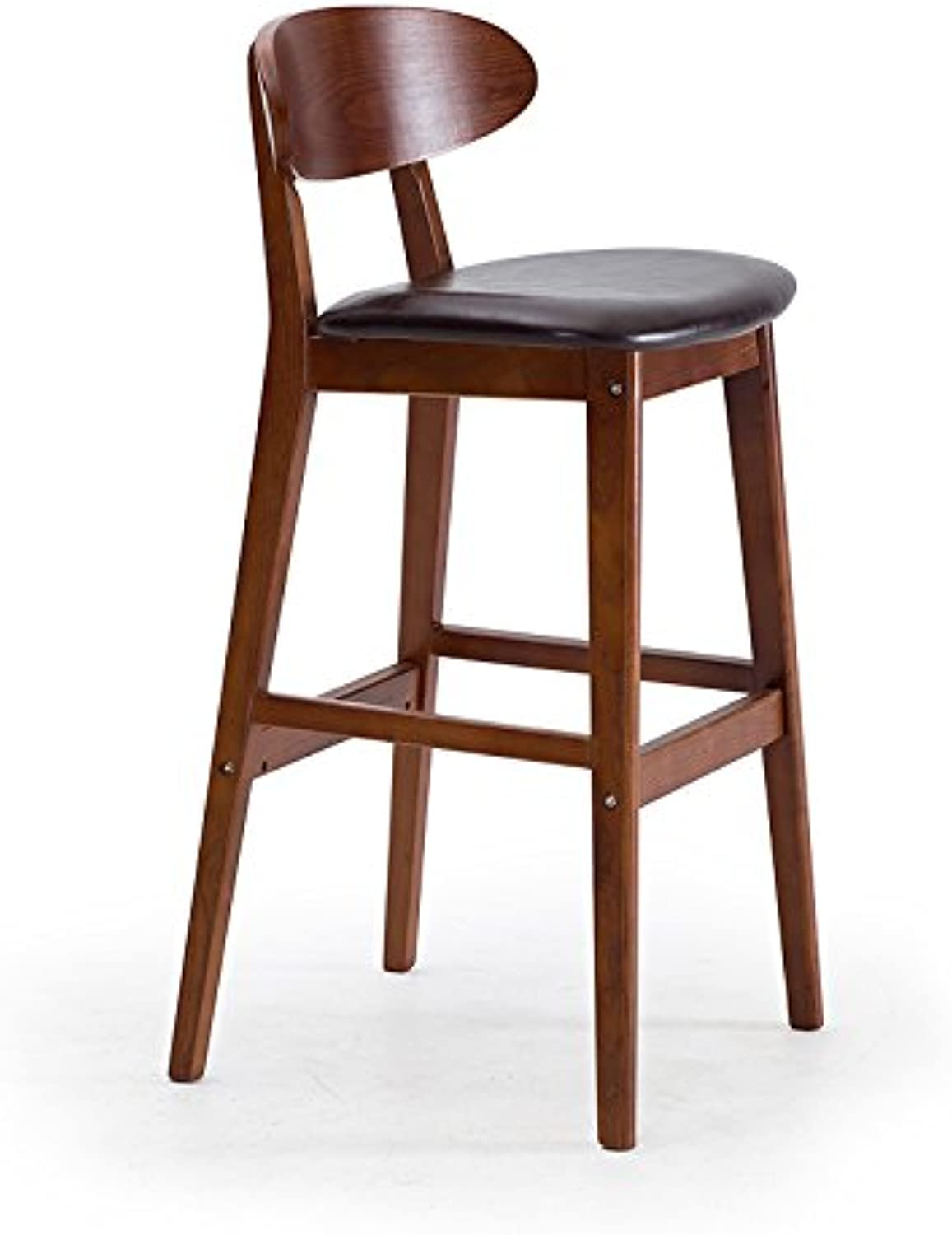 Zhang Solid Wood bar Stool high Stool backrest XPU pad can be Cleaned Sitting Height 75 cm (color   A)