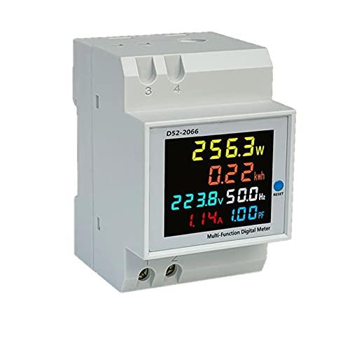 Digital Single Phase Energy Meter Tester Electricity Usage Monitor AC 110V 40V~300V 100A Ampermeter Power Voltmeter Ammeter Voltage Amps Watt Kwh Frequency Power Factor Meter Multimeter (Built-in CT)