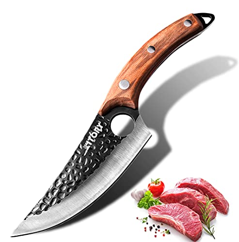 """KITORY Boning Knife Viking Knife Forged Butcher Meat Cleaver 6"""", Fishing Fillet & Bait Knives , Full Tang Multipurpose Man Sharp Kitchen Chef Knife for Home, BBQ, Camping, Outdoor, Deboning, Survival"""