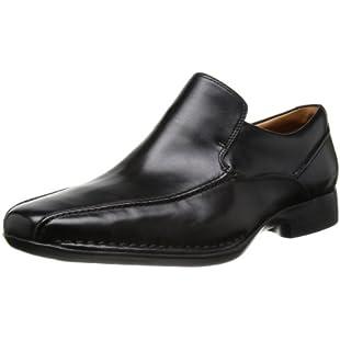 Clarks Men's Slip-On Loafer Flats Shoes Francis Flight Black Leather