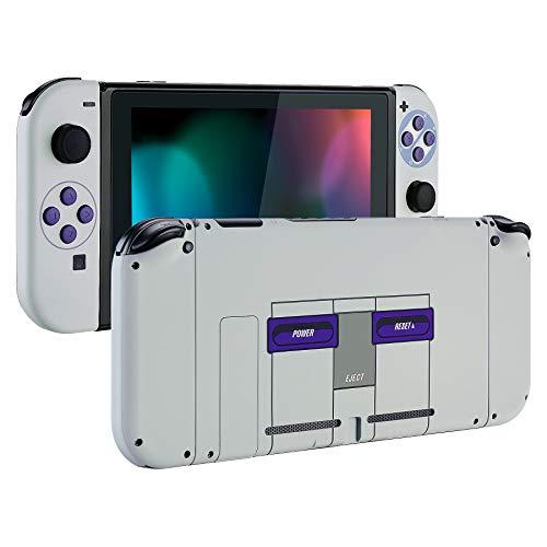 eXtremeRate Cover con Kit di Pulsanti Ricambio per Nintendo Switch,Soft Grip Custodia Posteriore Console Case Guscio Joy-Con Controller DIY Ricambio per Nintendo Switch(Stile SNES)