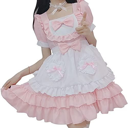 Disfraz de sirvienta Femenina Kawaii Cute Pink Lolita Cosplay Princess Dress Set Halloween Party Dress Up Cosplay