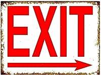 出口右矢印壁金属ポスターレトロプラーク警告ブリキサインヴィンテージ鉄絵画装飾オフィスの寝室のリビングルームクラブのための面白いハンギングクラフト