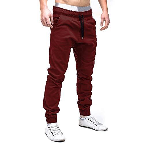 Vectry Pantalones Hombre Pantalones de Chándal Casual Pantalones Elásticos Deportivos Bolsillos Holgados Sólidos Casual Pantalones Trabajo
