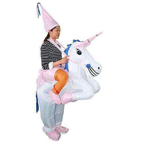 thematys Costume Unicorno Gonfiabile - Divertente Costume ad Aria per Adulti 165cm-185cm - Perfetto per Il Carnevale, Addio al Celibato o Halloween