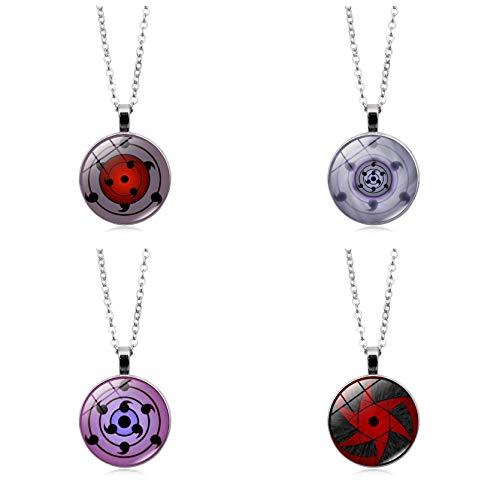 Master Online - Juego de 4 collares de metal con colgante de ojo redondo Naruto Write