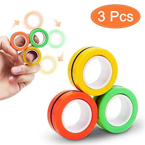 Magnetic Ring Toy, Magnetringe Anti-Stress-Fingerring, Magnetischer Ring Spielzeug, Dekompressionsspielzeug, Magische Ring-Requisiten, Buntes Fingerspielzeug für Erwachsene und Kinder (1)