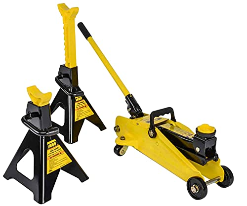 JEGS Hydraulic Utility Floor Jack and Jack Stands | 2-Ton Capacity | Heavy Gauge Steel Frames | Powder Coated Black and Yellow | Heavy Duty Caster Wheels on Floor Jack