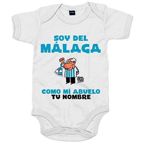 Body bebé soy del Málaga como mi abuelo personalizable con nombre - Blanco, 6-12 meses