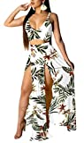 Womens Summer 2 Piece Outfits Floral Beach Swimwear Cover Ups Crop Top and Side Slit Skirt High Split Maxi Dresses Skirt Set White M